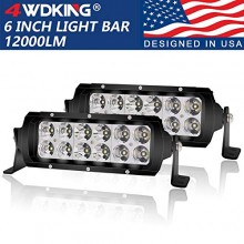 LED Light Bar 6 inch 4WDKING Screwless Design Waterproof Double Row Off Road Light