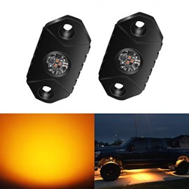 4WDKING Amber LED Rock Lights, 2 Pods IP68 Waterproof Trail Rig Lamp LED Neon Lights