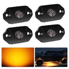 4WDKING Amber LED Rock Lights, 4 Pods IP68 Waterproof Trail Rig Lamp LED Neon Lights