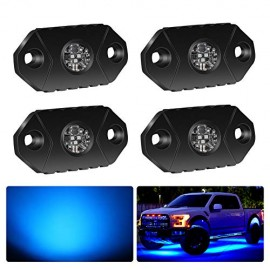4WDKING Blue LED Rock Lights, 4 Pods IP68 Waterproof Trail Rig Lamp LED Neon Lights