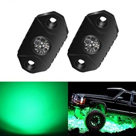 4WDKING White Green Rock Lights, 2 Pods IP68 Waterproof Trail Rig Lamp LED Neon Lights