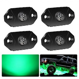 4WDKING Green LED Rock Lights, 2 Pods IP68 Waterproof Trail Rig Lamp LED Neon Lights