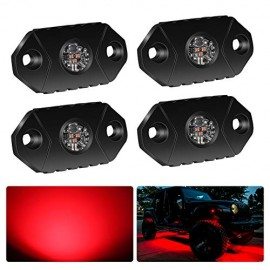 4WDKING Red LED Rock Lights, 4 Pods IP68 Waterproof Trail Rig Lamp LED Neon Lights