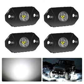 4WDKING White LED Rock Lights, 4 Pods IP68 Waterproof Trail Rig Lamp LED Neon Lights